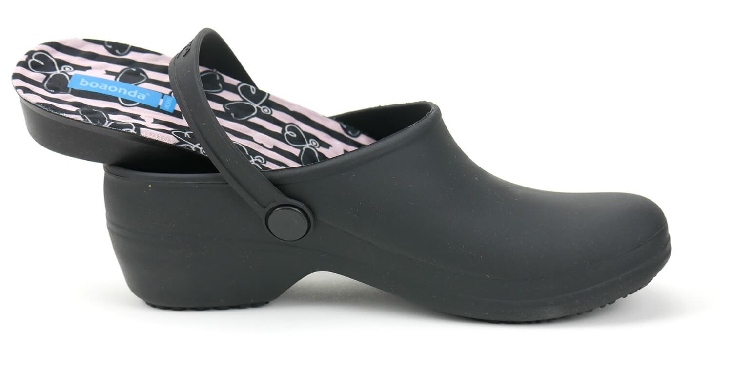 Bio Nurse Clogs - Black with printed insole - Stetho Love