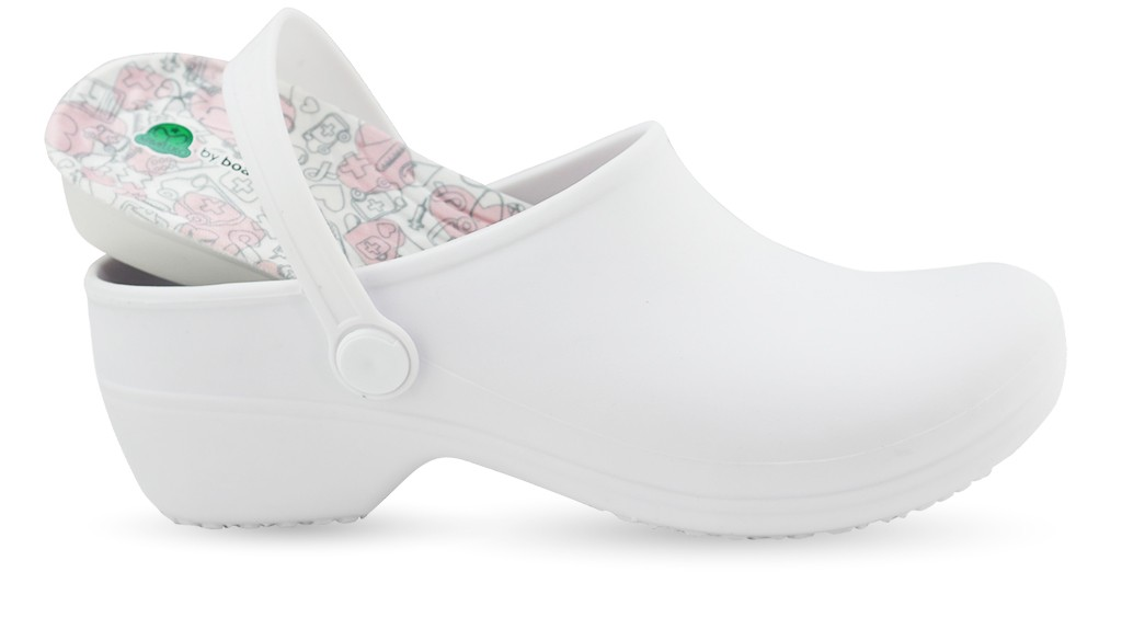 Bio Nurse Clogs - White with printed insole - Hospital Icons