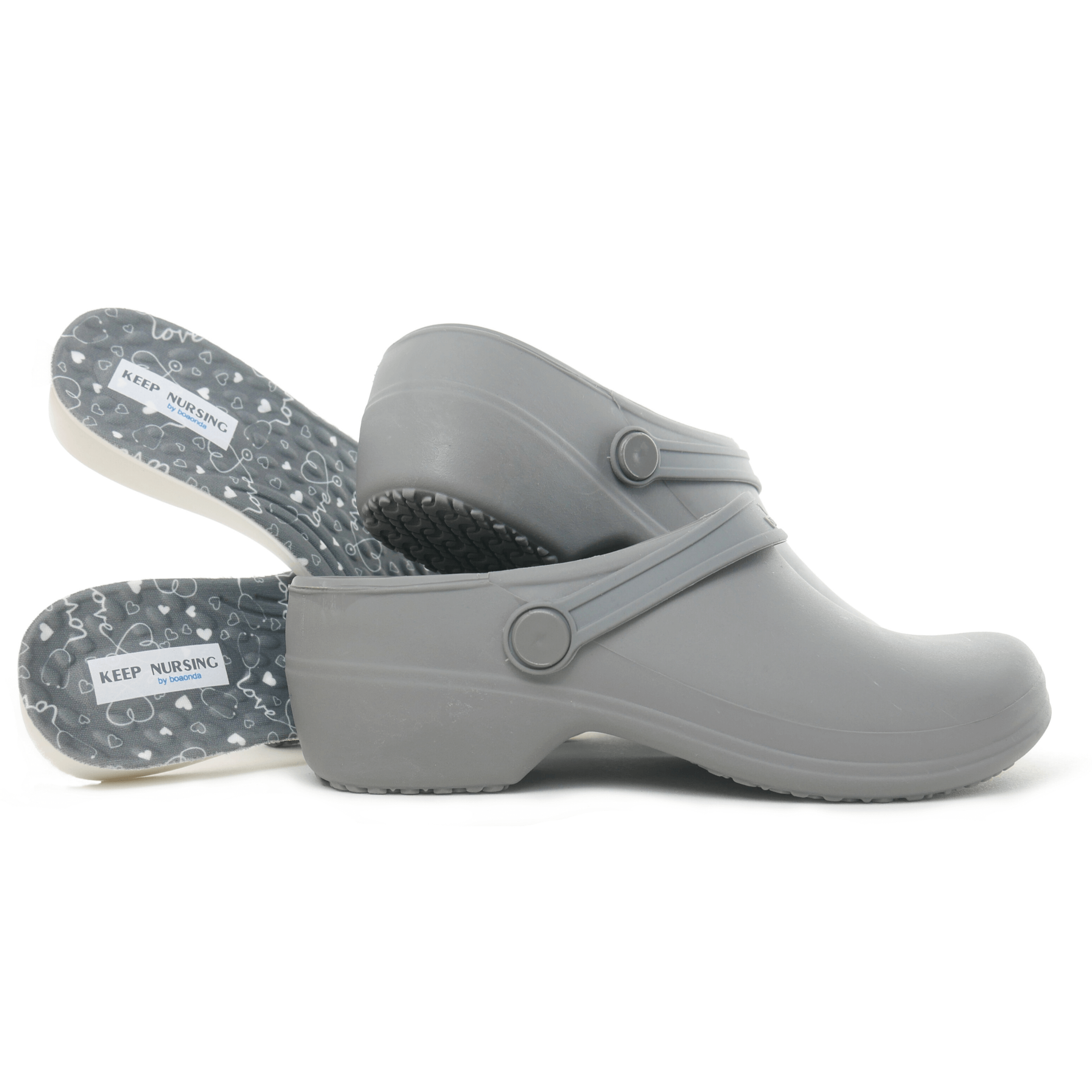 Bio Nurse Clogs - Gray with printed insole - Stetho Love