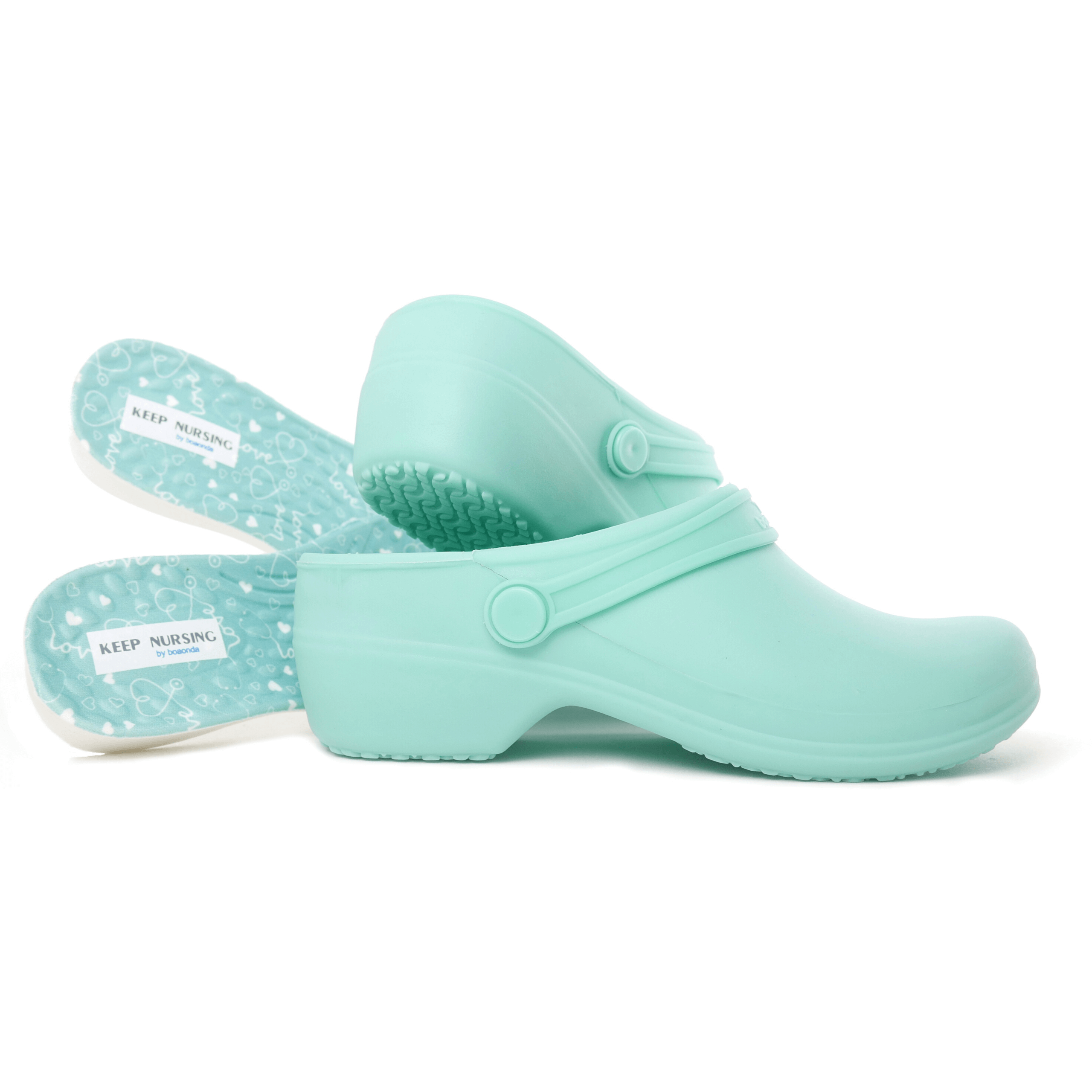 Bio Nurse Clogs - Light Green with printed insole - Stetho Love