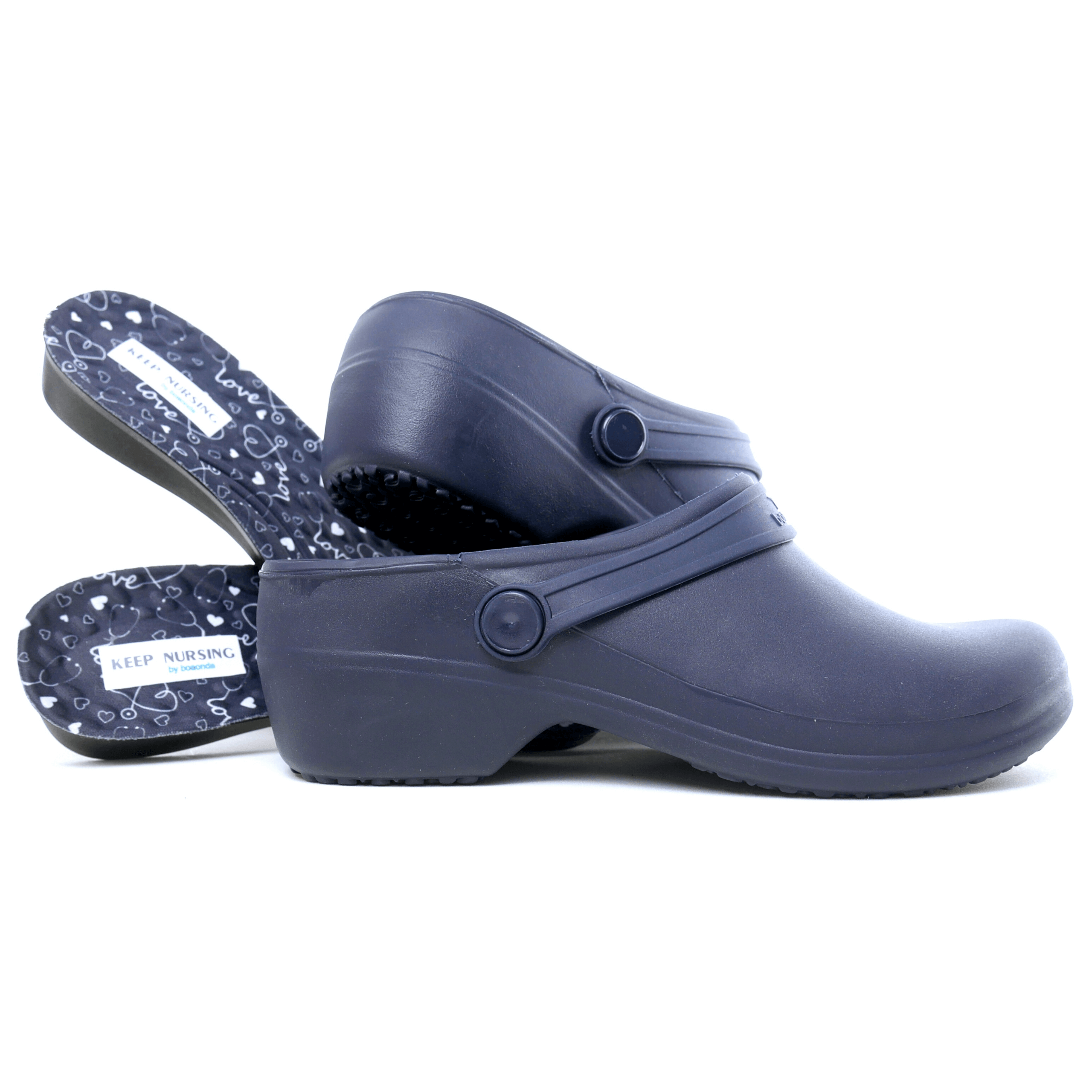 Bio Nurse Clogs - Navy with printed insole - Stetho Love