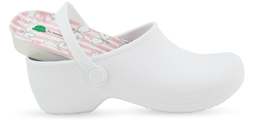Bio Nurse Clogs - White with printed insole - Stetho