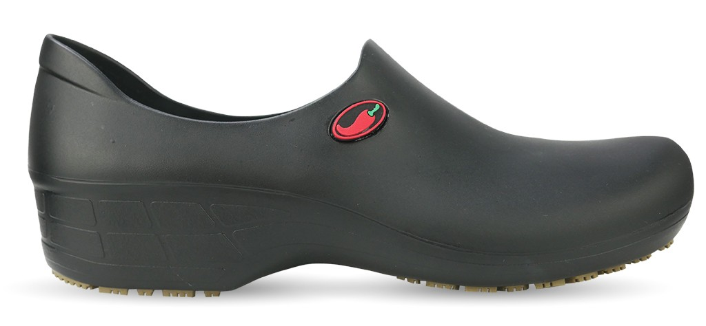 Non-Slip Chef Shoes for Women- Black with Red Pepper