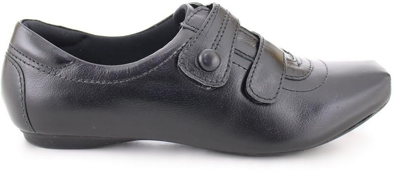 Leather Double Velcro Shoes 2056 - Black