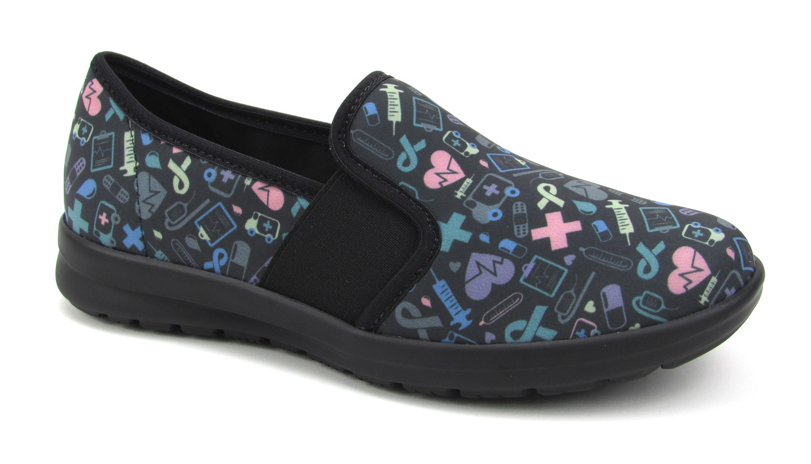 Florence Sunny - Black with Colorful Hospital Icons