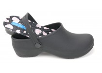 Bio Nurse Clogs - Black with printed insole - Hospital Icons