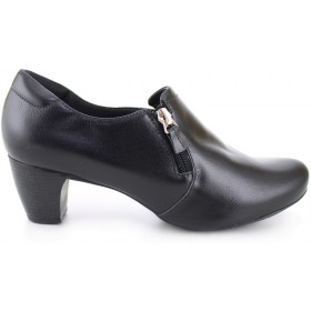 Heel Ziper Leather Shoes 4767 - Black