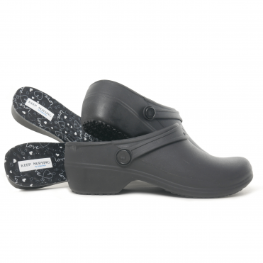 Boaonda Bio - Nursing Clogs for Women - Black with printed insole - Stetho Love