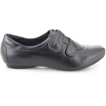 Leather Double Velcro Shoes 2056 - Black