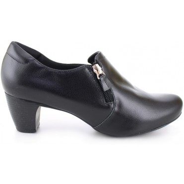 Heel Ziper Leather Shoes 4767 - Black
