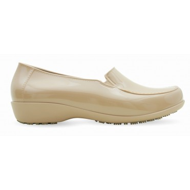 Slip Resistant Shoes for Women - Comfortable Work Shoes - ClassicPro Loafers - Nude