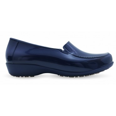 Sticky Slip Resistant Shoes for Women - Comfortable Work Shoes - Waterproof - ClassicPro Loafers Navy