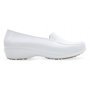 Sticky Slip Resistant Shoes for Women - Comfortable Work Shoes - ClassicPro Loafers - White